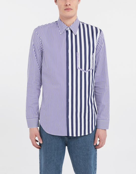 MAISON MARGIELA Asymmetric Décortiqué pocket striped shirt Long sleeve shirt [*** pickupInStoreShippingNotGuaranteed_info ***] r