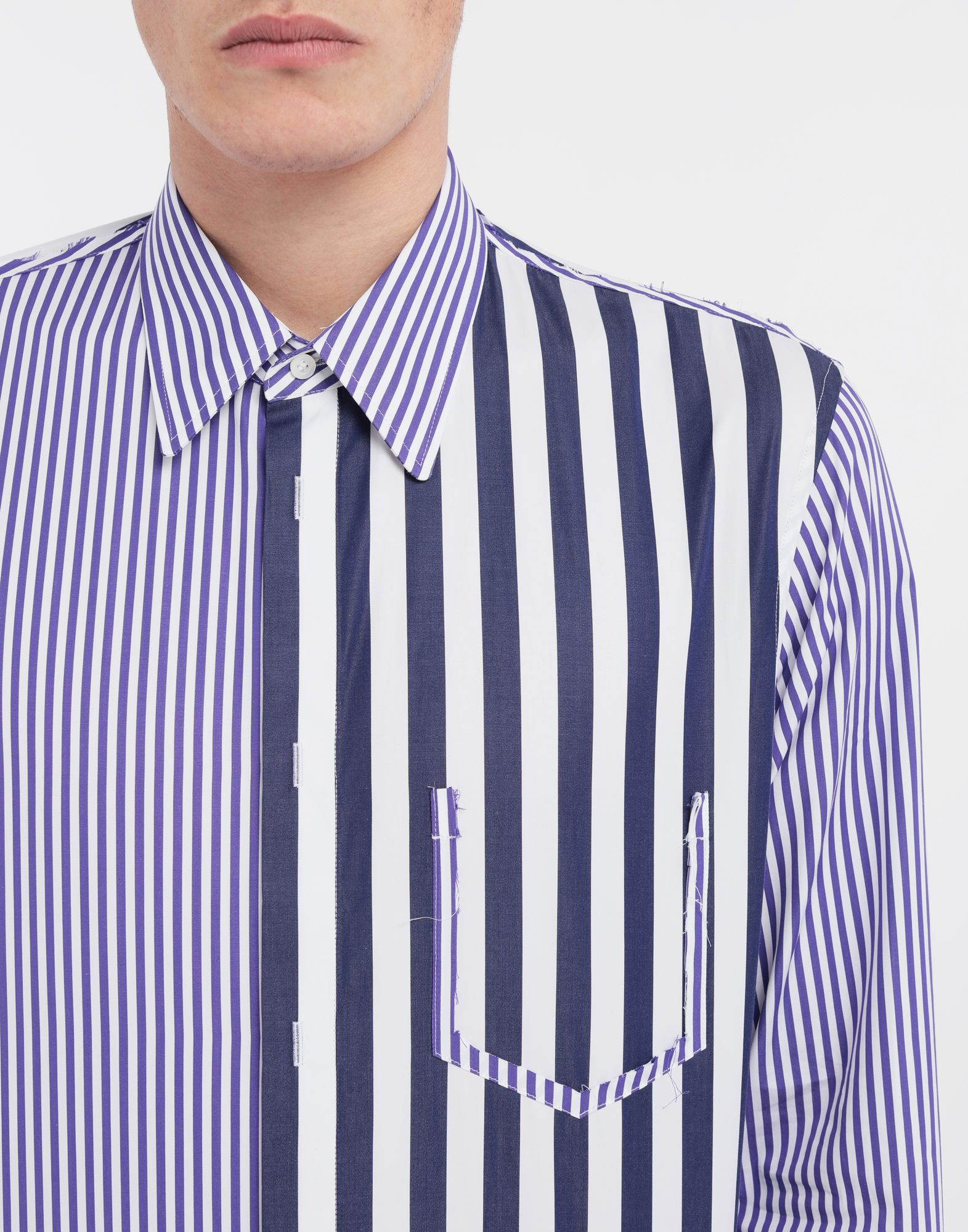MAISON MARGIELA Asymmetric Décortiqué pocket striped shirt Long sleeve shirt Man a
