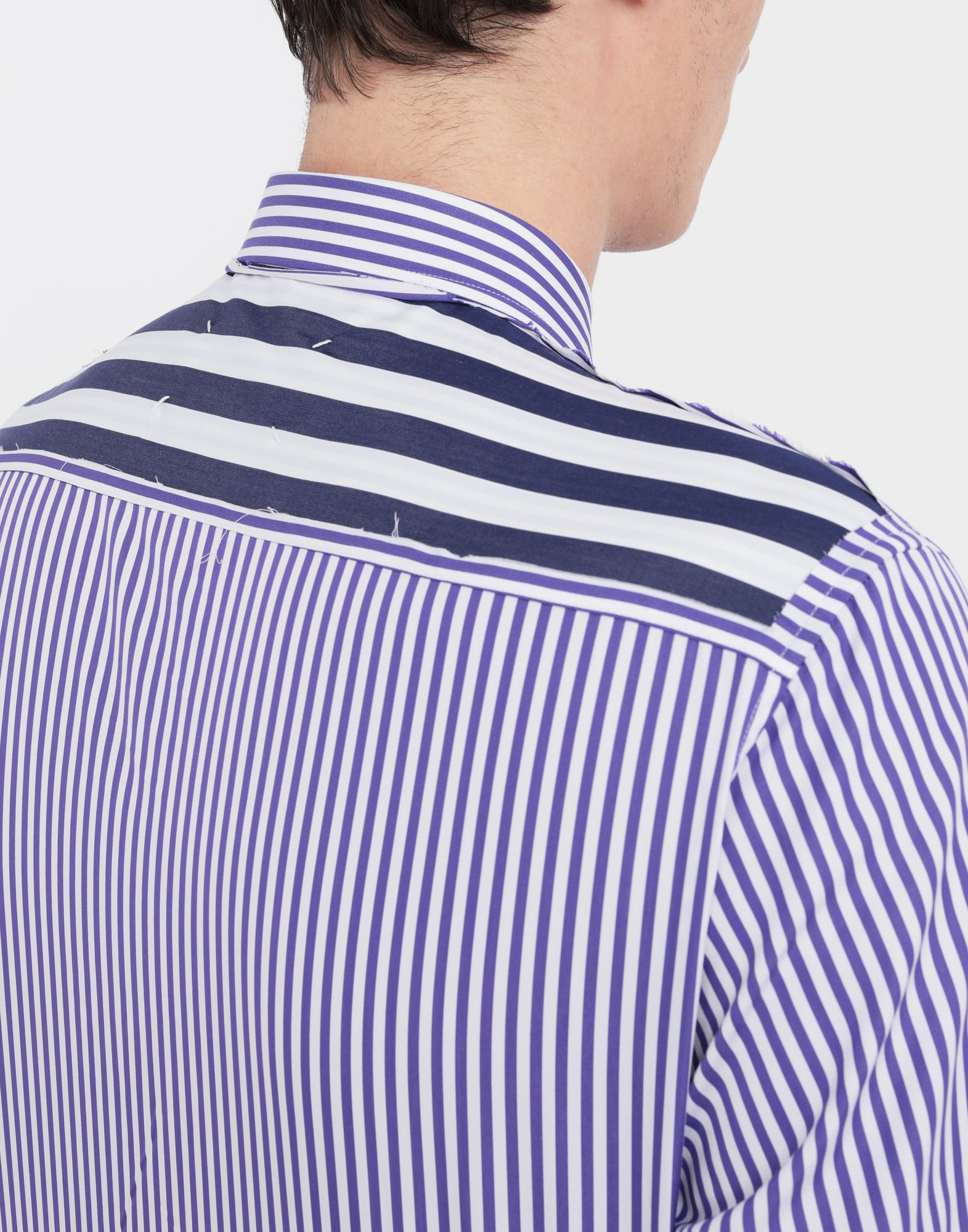 MAISON MARGIELA Asymmetric Décortiqué pocket striped shirt Long sleeve shirt Man b