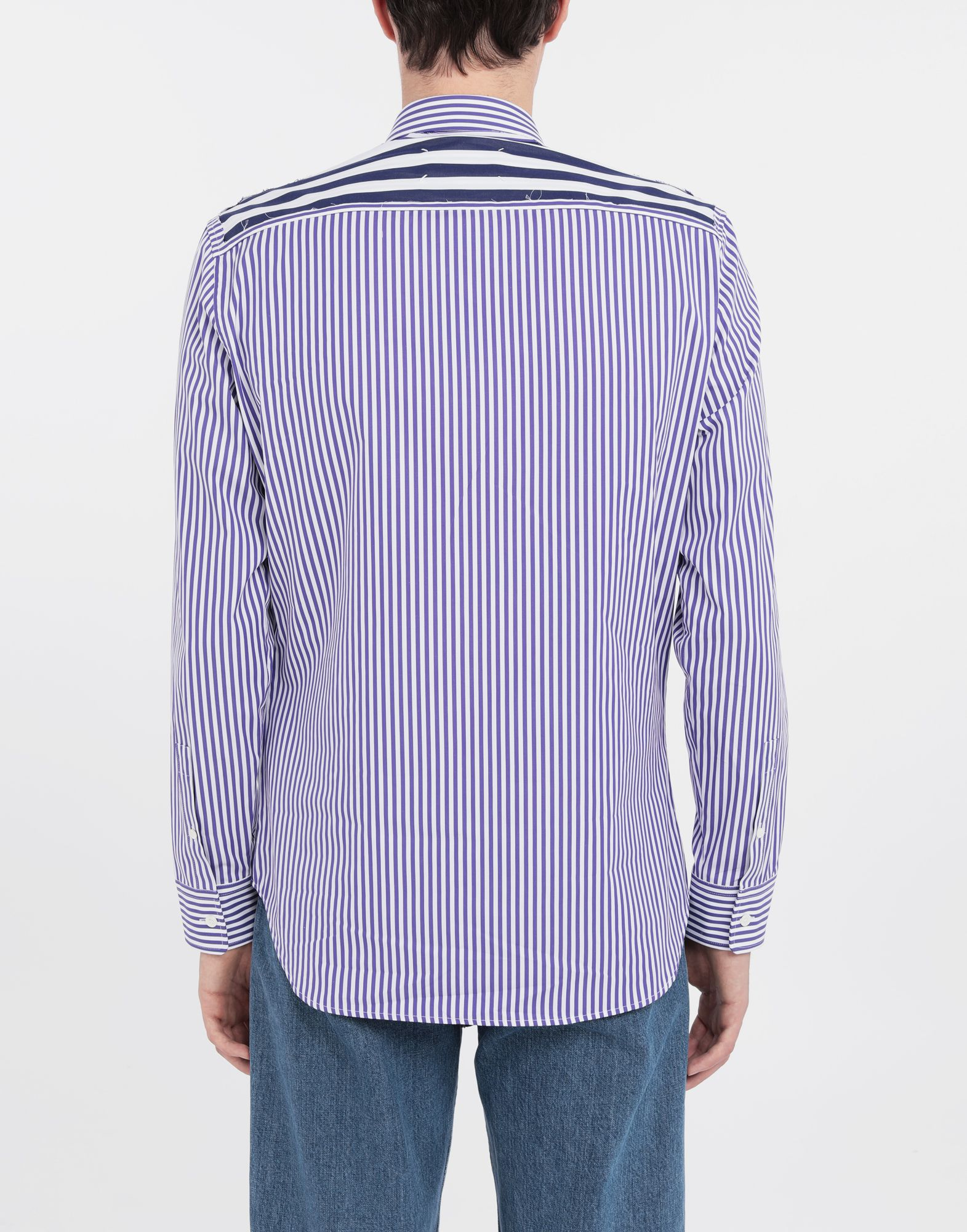 MAISON MARGIELA Asymmetric Décortiqué pocket striped shirt Long sleeve shirt Man e