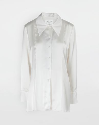 MAISON MARGIELA Double Layer lace satin shirt Long sleeve shirt [*** pickupInStoreShipping_info ***] f