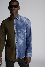 DSQUARED2 Half Denim Half Ripstop Military Shirt With Dan Print On Back Shirt Man