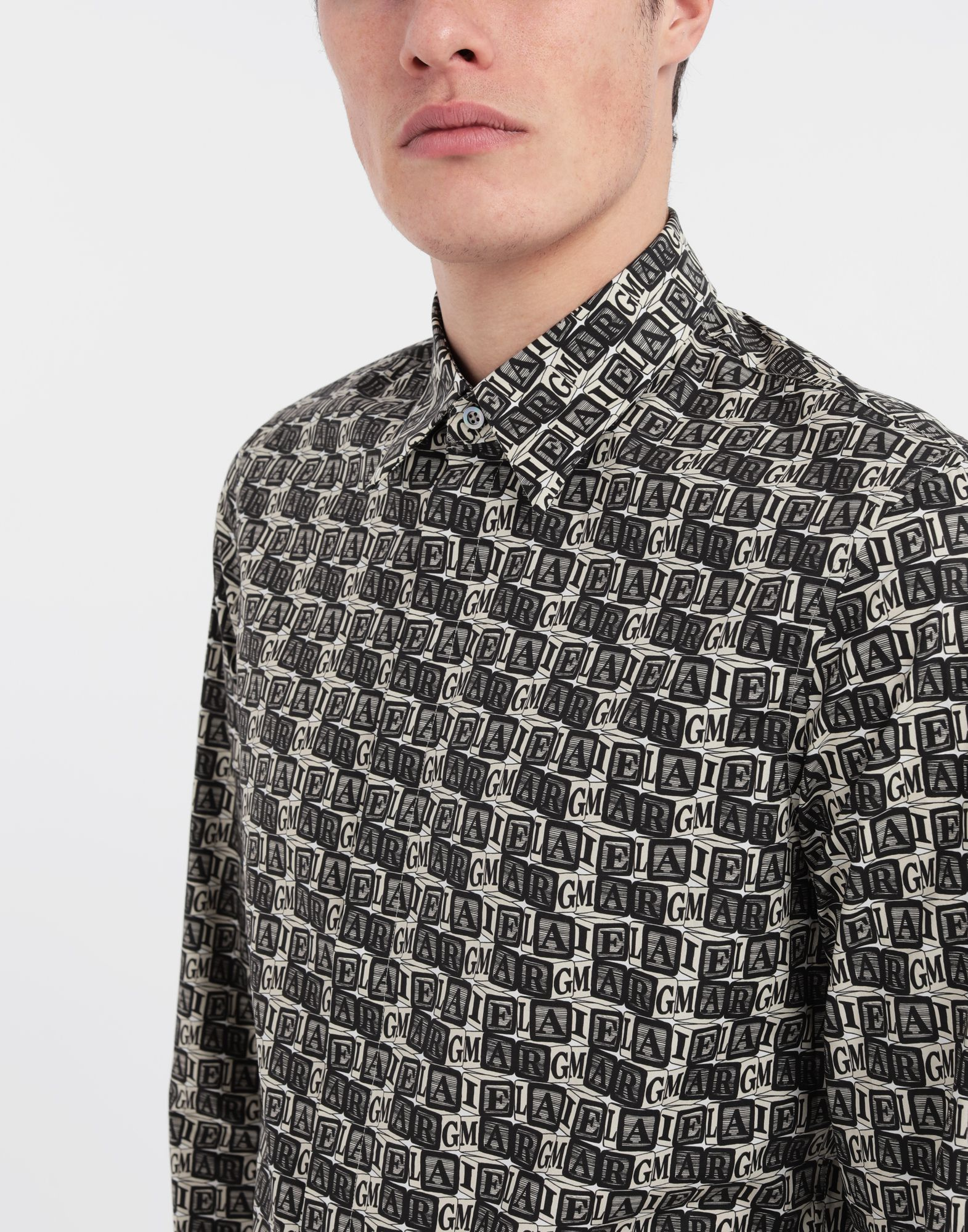 MAISON MARGIELA Cube logo printed shirt Long sleeve shirt Man a