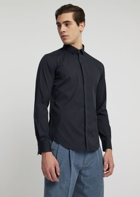 Stretch cotton shirt with concealed buttons
