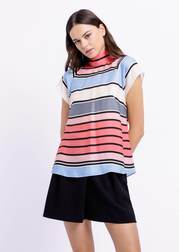 66cb5c9d31 Short-sleeved top in opaque bayadere print satin | Woman | Emporio ...