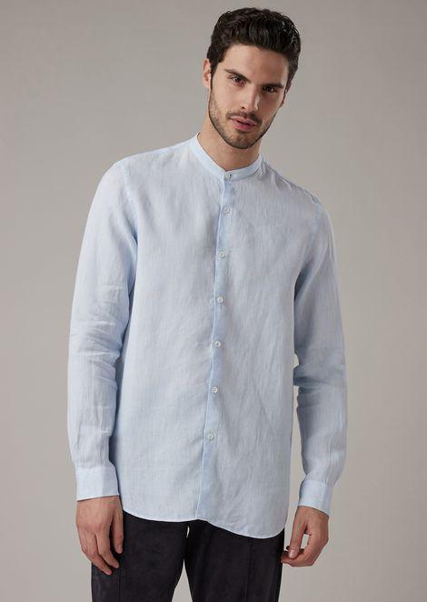 Camicia regular fit in puro lino con collo guru