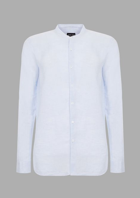 Camisa de corte regular de lino puro con cuello chino