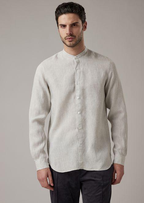 Hemd in Regular Fit aus reinem Leinen mit Gurukragen