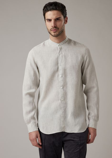 Regular-fit shirt in pure linen with guru collar