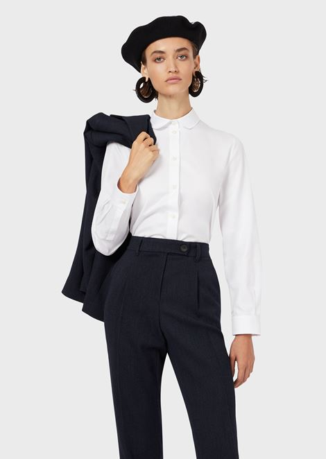 Twill blouse with Peter Pan collar