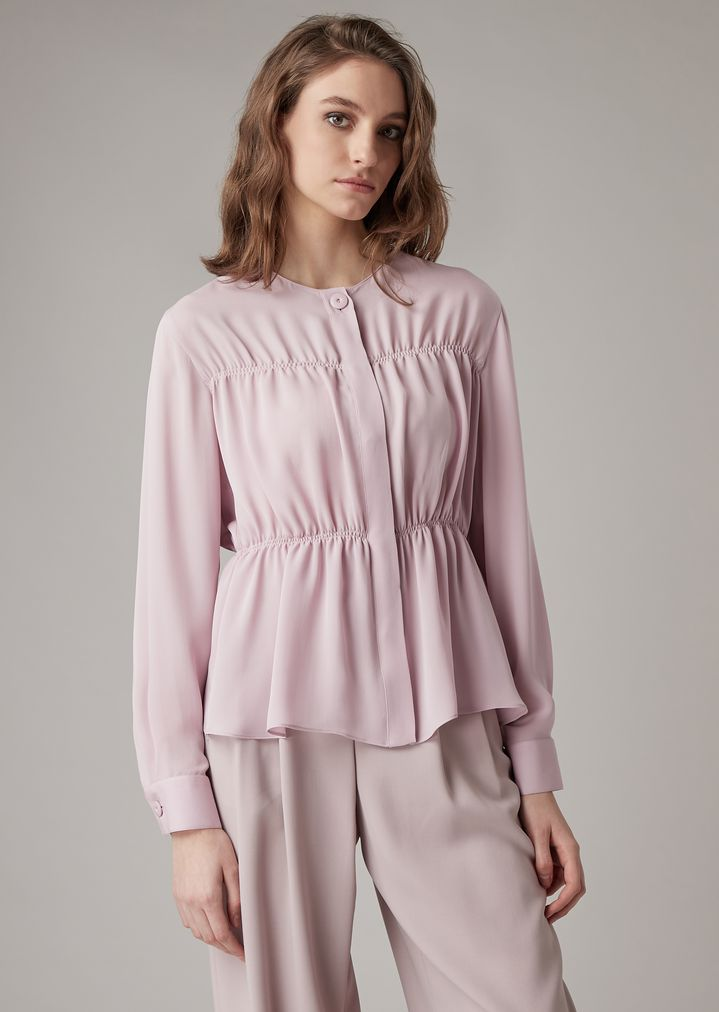 b7e4f33c11 Double silk georgette tiered shirt