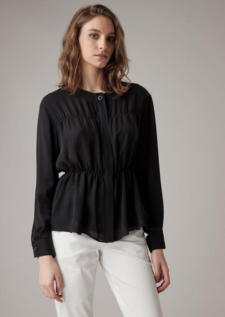 20d9e6638a Double silk georgette tiered shirt | Woman | Giorgio Armani