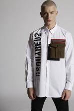 DSQUARED2 Stretch Cotton Punk Shirt With Shiny Military Logo Print Long sleeve shirt Man