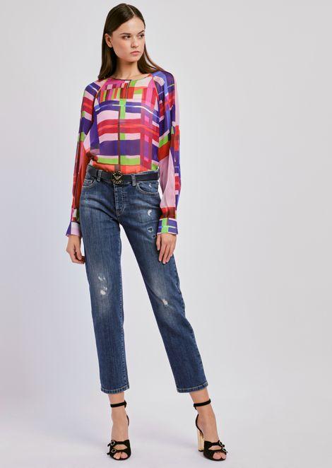 Silk chiffon blouse and multicolor check pattern