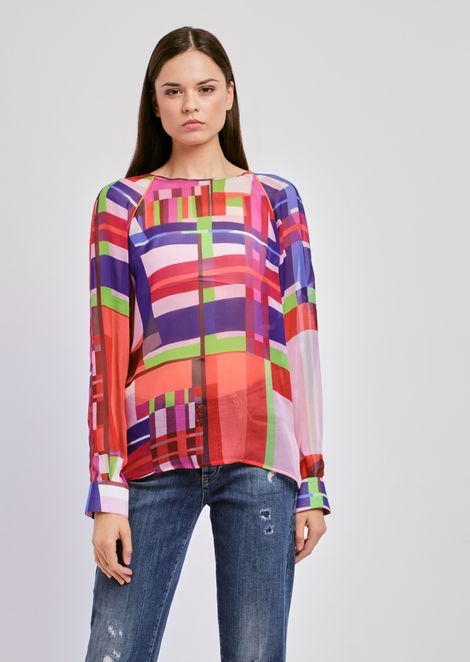 Blusa in chiffon di seta a fantasia check multicolor