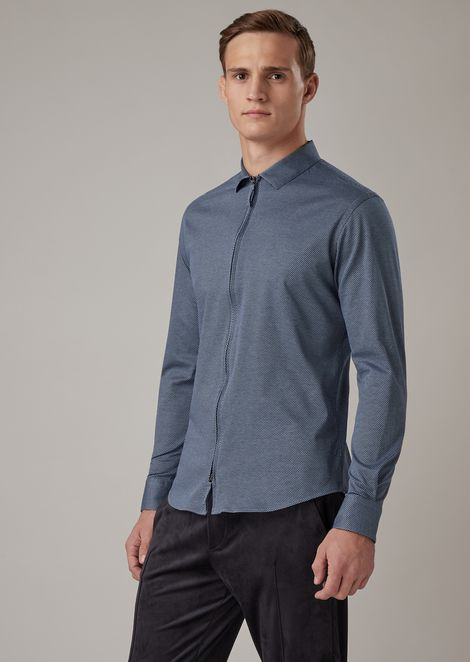 Slim-fit shirt in yarn-dyed micro-textured jersey