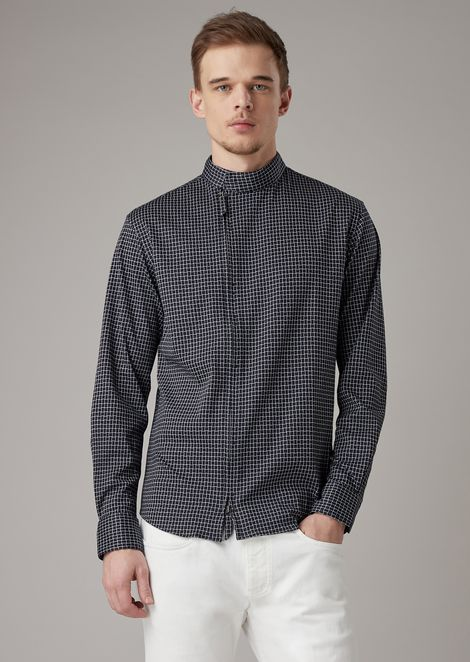 Slim-fit shirt in exclusive patterned jacquard jersey