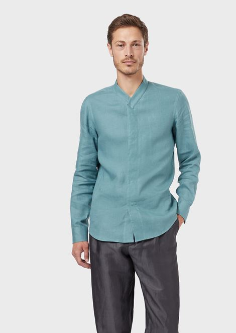 Regular-fit shirt in pure linen