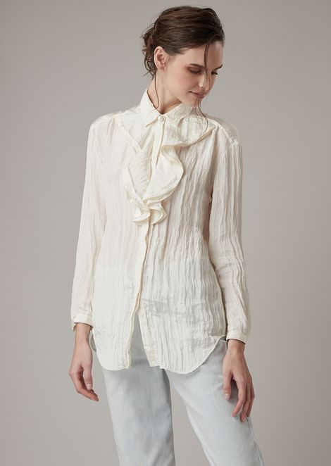Crepon satin shirt with double ruffle at the neck