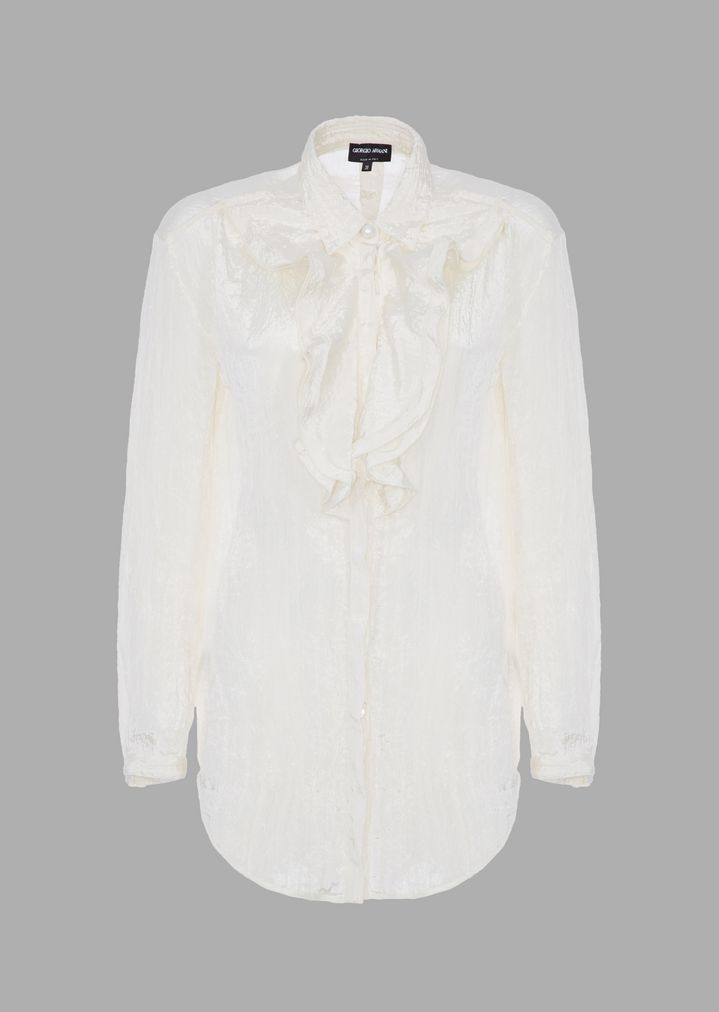 adbb6dd328 Crepon satin shirt with double ruffle at the neck
