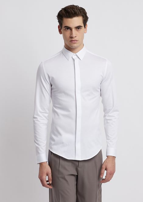 Textured jersey shirt with concealed buttons