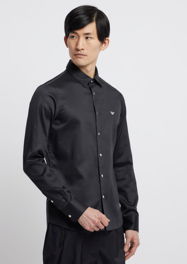 0036181cd1 Shirt in glazed cotton with removable collar