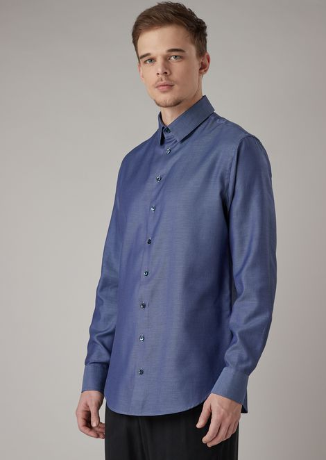 Shirt in exclusive micro-textured fabric