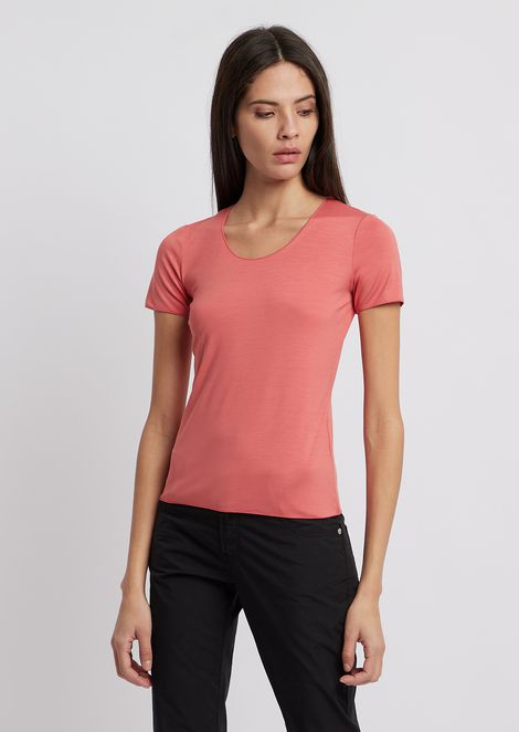 Stretch viscose jersey T-shirt