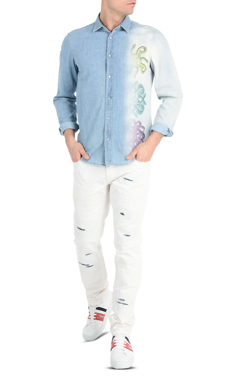 JUST CAVALLI Denim shirt with snake print Denim shirt Man d
