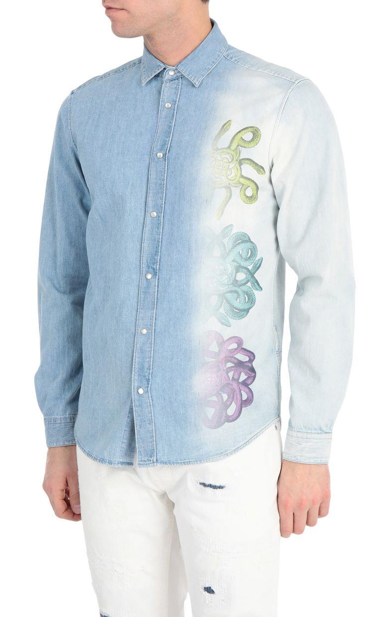 JUST CAVALLI Denim shirt with snake print Denim shirt Man f