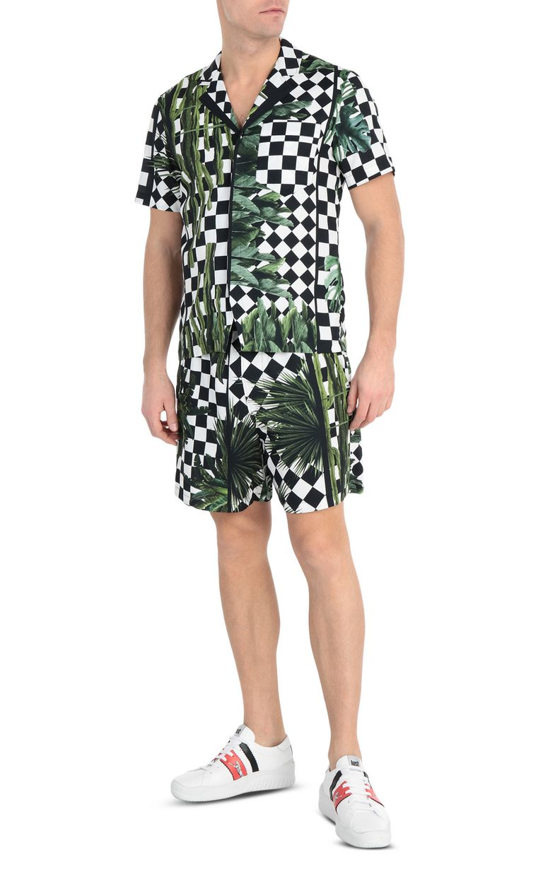 JUST CAVALLI Shirt with garden-check print Short sleeve shirt Man d