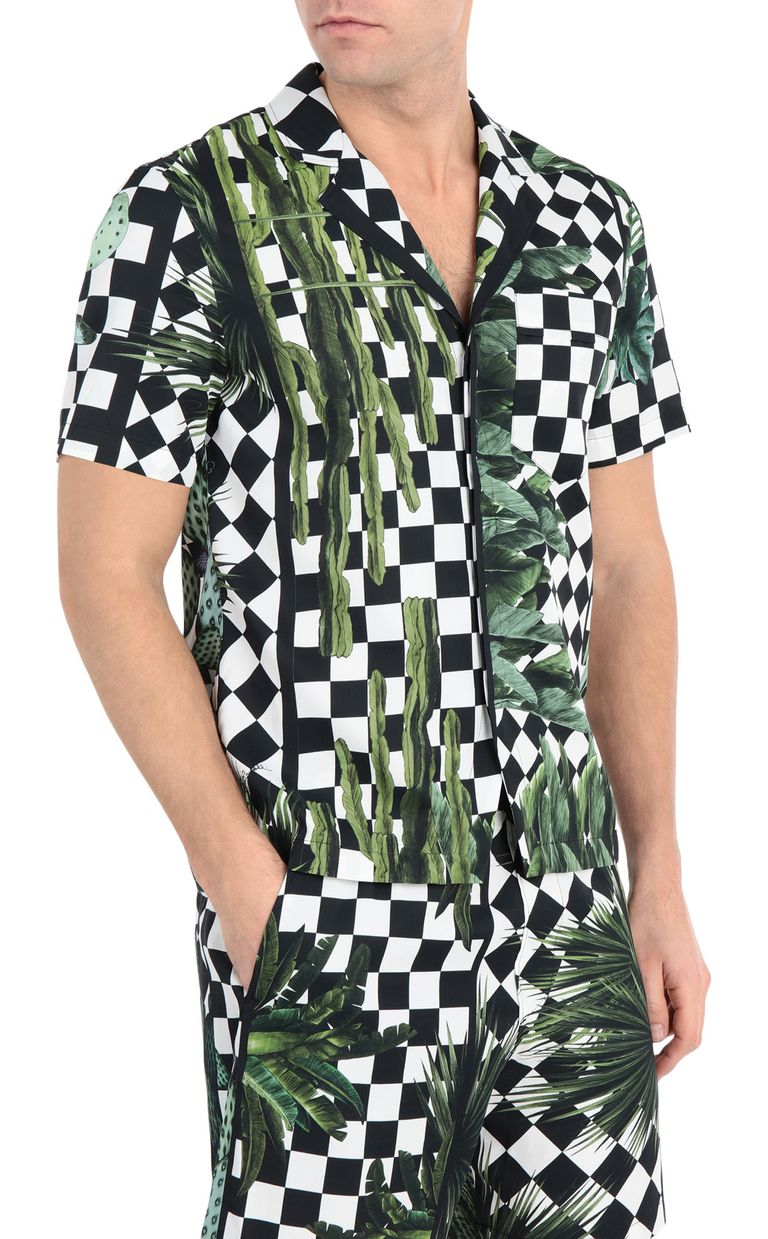 JUST CAVALLI Shirt with garden-check print Short sleeve shirt Man f