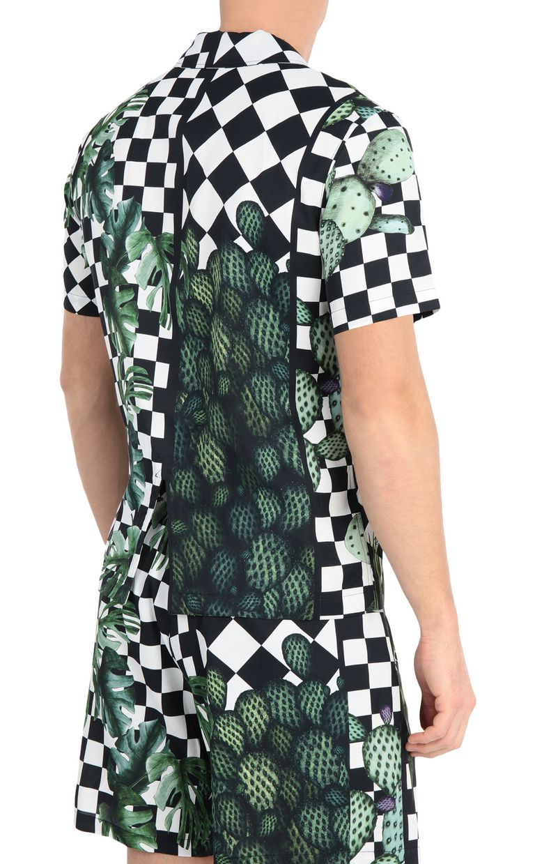 JUST CAVALLI Shirt with garden-check print Short sleeve shirt Man r