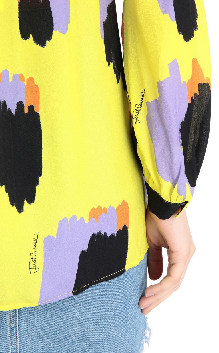JUST CAVALLI Shirt with pencil-leopard print Long sleeve shirt Woman e