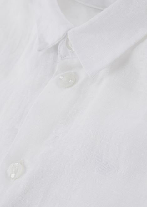 Pure linen shirt with embroidered logo