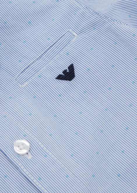Pure cotton shirt with micro polka dot pattern