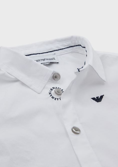 Shirt in cotton poplin with embroidered logo