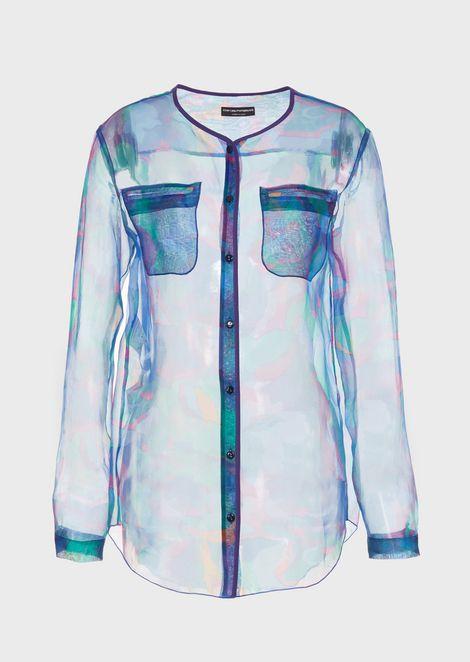 Camo silk organza blouse with pockets