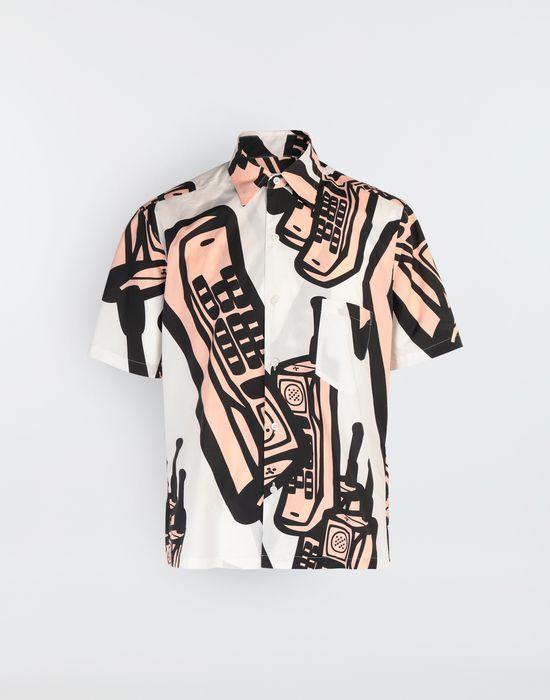 MAISON MARGIELA Chemise avec imprimé téléphone Short sleeve shirt [*** pickupInStoreShippingNotGuaranteed_info ***] f