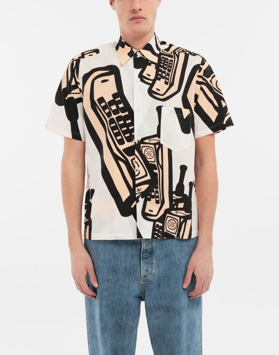 MAISON MARGIELA Chemise avec imprimé téléphone Short sleeve shirt [*** pickupInStoreShippingNotGuaranteed_info ***] r