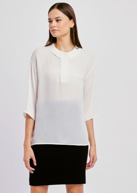 Satin crepe blouse with three-quarter sleeves