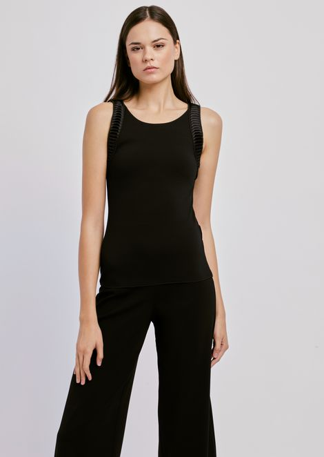 Sleeveless stretch jersey top with satin inserts