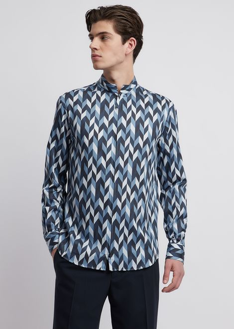 Printed cotton satin shirt with zipper