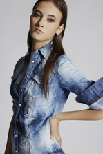 DSQUARED2 Spots And Patches Western Shirt Denim shirt Woman