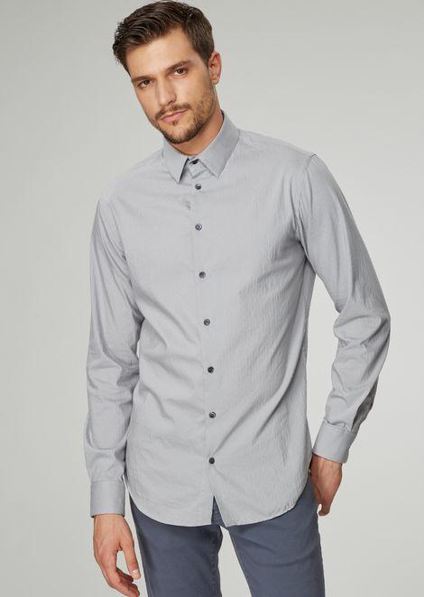 Slim-fit shirt in striped cotton poplin
