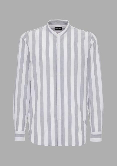 Рубашка прямого кроя изчистого льна своротником-стойкой
