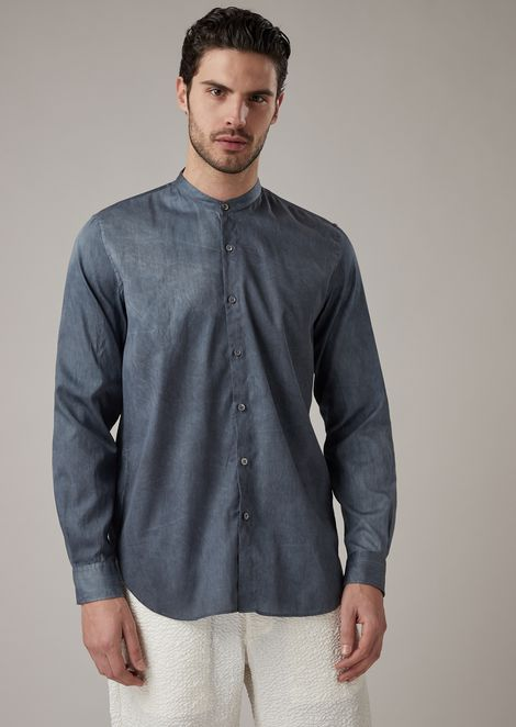 Regular-fit shirt in pure linen with guru collar