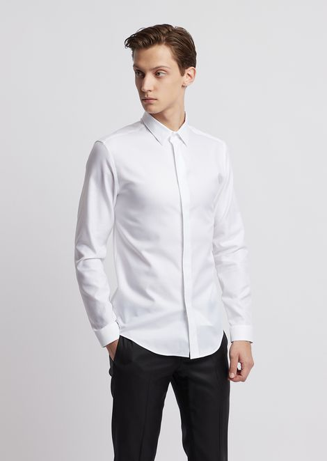 Camisa de sarga de algodón a rayas