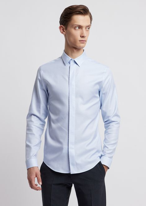 Shirt in striped cotton twill