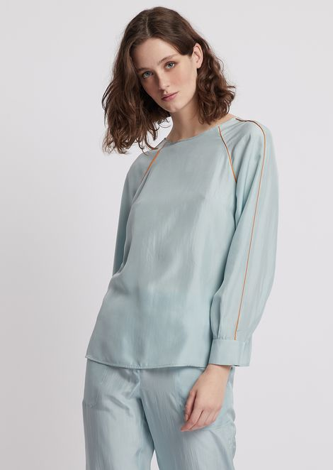 Habotai silk blouse with raglan sleeves